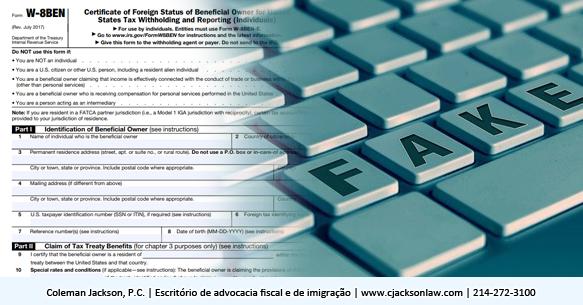 Formulário falso W-8BEN usado em fraudes fiscais do IRS, não seja fisgado!