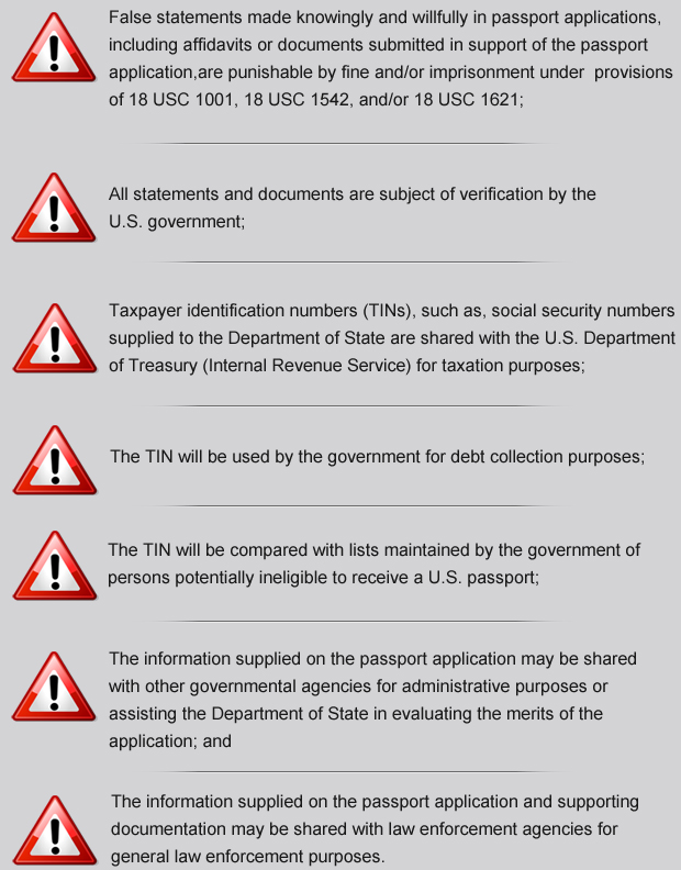 serious warnings that any U.S. passport applicant should be familiar with